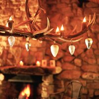 Baubles hanging on antlers