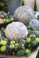 Autumn wreath (apples, ornamental gourds, ornamental cucumbers)