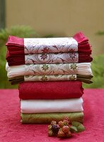 Assorted tablecloths and fabric napkins