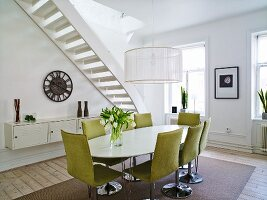 Dining room, stairs in background