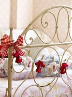 Gifts and decorations on child's bed