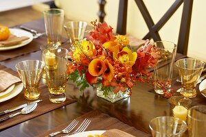 Table Set for Thanksgiving with Flower Centerpiece