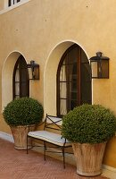 Planters and a bench in front of arched windows in a Mediterranean facade