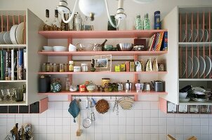 Items displayed on kitchen shelves