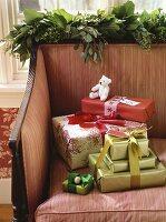 Christmas gifts on a sofa