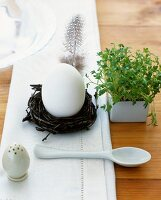 A boiled egg in a nest next to water cress, an egg spoons and a salt shaker