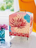 Colourful lantern made of printed Japanese paper