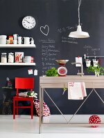 Creative kitchen - wall painted with blackboard paint and covered in chalk notes