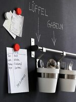 Notes and cutlery holders on kitchen wall coated in blackboard paint
