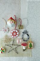 Various Christmas tree ornaments (seen from above)