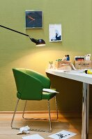 Desk, green leather chair & anglepoise office lamp