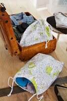 Shoe bags made from city map fabric