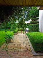 Brick-paved garden path with planters and topiary hedges in front of house