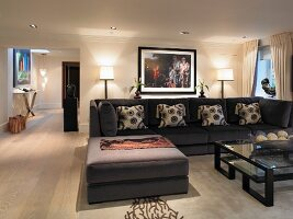 Sofa with matching ottoman in elegant living room
