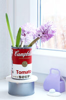 Hyacinths in a retro-style tin can in front of a window