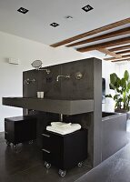 Free-standing plumbing unit with grey-tiled bathtub and washstand in loft-style interior