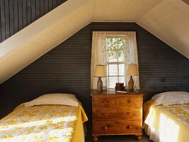 Twin beds in wood-panelled attic room