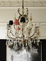 Chandelier with lampshades