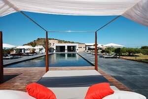 Pool beds outside by swimming pool