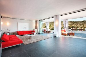 Red sofas in living room