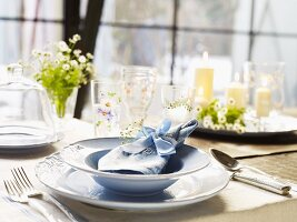 A table laid in country house style