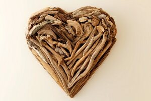 Decorative heart made from driftwood