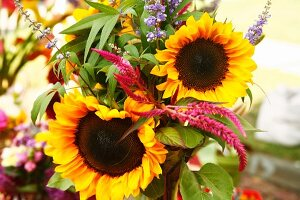 Organic Sunflower Bouquet at a Farmers Market
