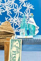 Maritime table ornaments & interior decor in shades of blue
