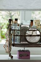 Vintage basket with necklace and toiletries