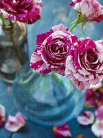 Red and white roses in vases
