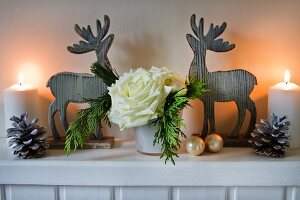 Christmas arrangement with white roses