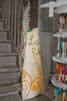 Apron and embroidery silks in craft shop