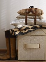 Storage box and African-style cushions