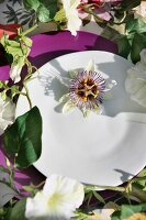Plate decorated with flower