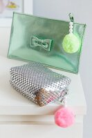 Make-up bags decorated with beads & pompoms