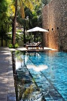 Pool and palm trees next to high stone wall; relaxation area with sun loungers and parasol in background