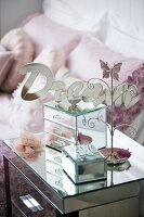 Jewellery boxes on bedside table
