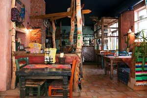 A Tex Mex restaurant in the town of Parnu, Estonia. Decorated with striped fabrics, painted symbols, and Mexican blankets