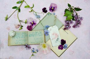 Sill life with old autographs, books and flowers