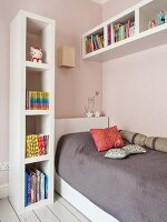 Teen bedroom, sleeping area with white book shelving