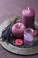 Lavender spa set with salt and candles