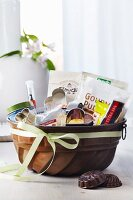 Cake mould used as gift basket