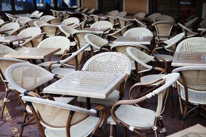 Table and Chairs at an Outdoor Cafe in the South of France