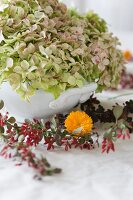 Table decoration made with hydrangeas