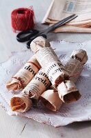 Home-made newspaper crackers