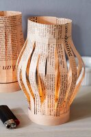 Newspaper table lantern