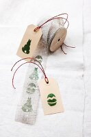 Ribbon & gift tags printed with hand-crafted, printed Easter motifs