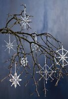 Wire stars decorated with beads as Christmas decorations hanging from branch