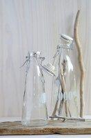 Two glass bottles; twigs in one bottle