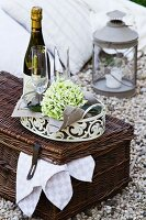 Romantic picnic with wine glasses on picnic basket